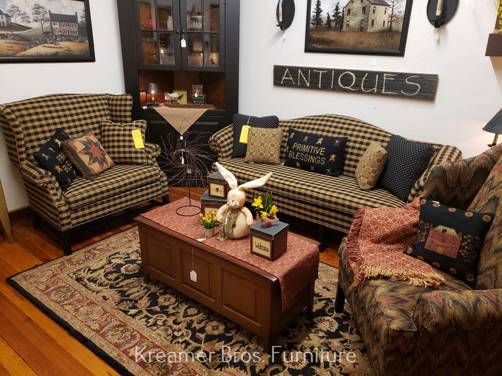 Kreamer Brothers Furniture, Country Primitive Upholstered Furniture